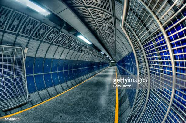CONTENT] A shot of one of the corridors in London Bridge tube station The corridor is part of the Jubilee line extension and is made up of the...