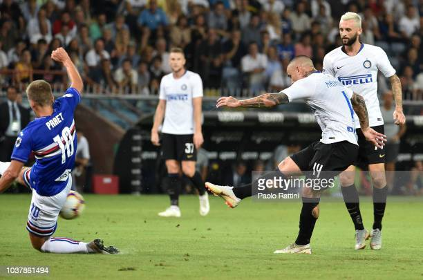 Shot of Radja Nainggolan of Inter during the serie A match between UC Sampdoria and FC Internazionale at Stadio Luigi Ferraris on September 22 2018...