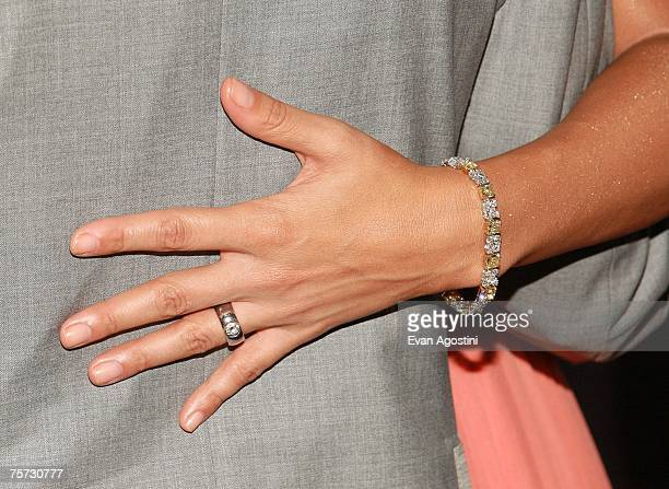 A shot of singer/actress Jennifer Lopez's wedding ring at the premiere of El Cantante at the 42nd street AMC Theatre on July 26 2007 in New York City