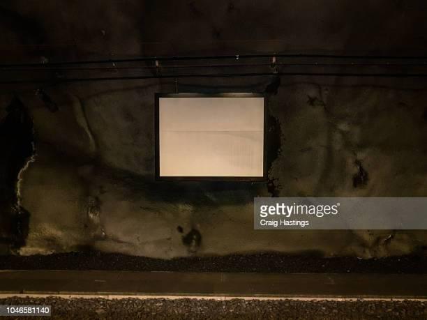 Shot of Stockholm sweden underground train advertising board