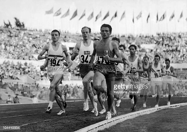 A shot of the 1500m where we see French runner Michel JAZY during the Olympic Games in Rome on September 3 1960