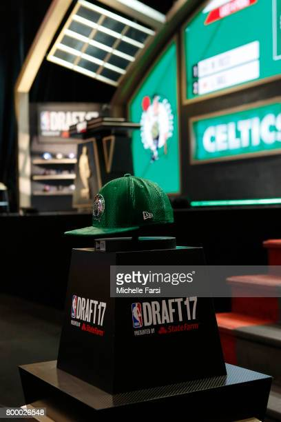 A shot of the Boston Celtics cap before the third overall pick at the 2017 NBA Draft on June 22 2017 at Barclays Center in Brooklyn New York NOTE TO...