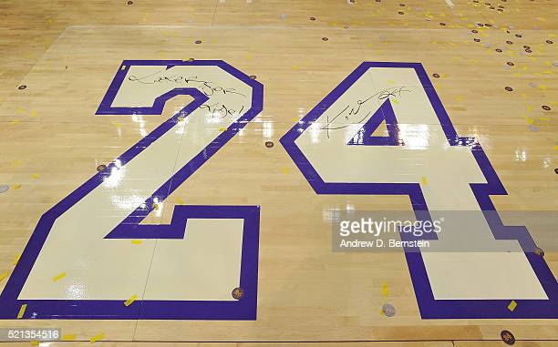 A shot of the court after Kobe Bryant of the Los Angeles Lakers signed it after his last game against the Utah Jazz at STAPLES Center on April 13...