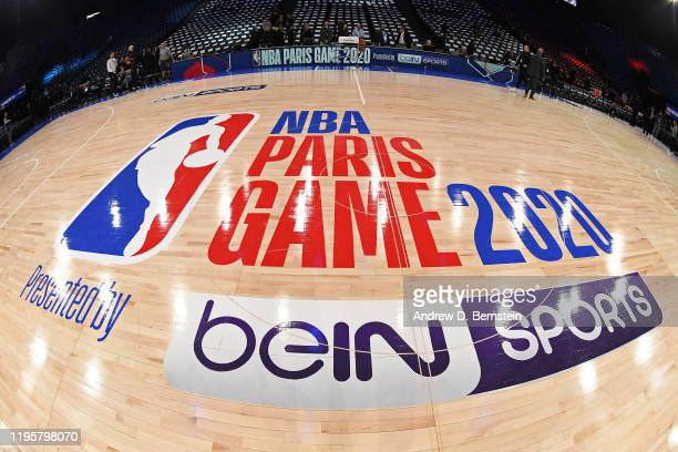A shot of the court at the AccorHotels Arena before the Milwaukee Bucks game against the Charlotte Hornets as part of NBA Paris Games 2020 on January...
