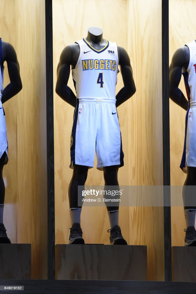super popular 24393 a7476 A shot of the Denver Nuggets new uniforms during the Nike ...