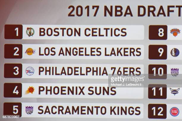 A shot of the final board during the 2017 NBA Draft Lottery at the New York Hilton in New York New York NOTE TO USER User expressly acknowledges and...