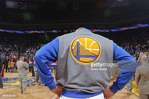 A shot of the Golden State Warriors logo on the jacket belonging to a Golden State Warriors during the national anthem of the game against the...