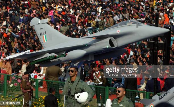 Shot of the Indian Air Force tableau depicting scaledown model of Rafale fighter jet during the 71st Republic Day Parade in New Delhi