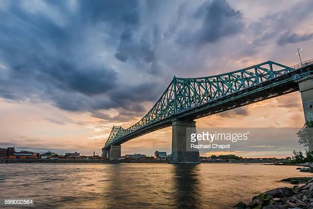 Shot of the Jacques cartier bridge in Montreal during sunset