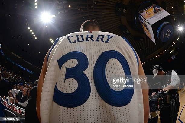 A shot of the jersey belonging to Stephen Curry of the Golden State Warriors after the game against the Portland Trail Blazers on April 3 2016 at...