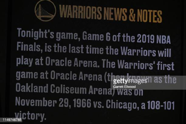 A shot of the jumbotron before Game Six of the NBA Finals between the Toronto Raptors and the Golden State Warriors on June 13 2019 at Oracle Arena...