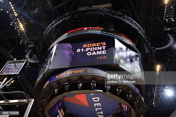 Shot of the jumbotron commemorating the anniversary of Kobe Bryant of the Los Angeles Lakers 81 point game during the game against the San Antonio...