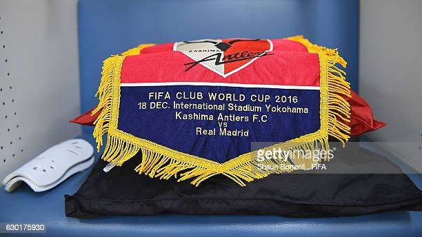 Shot of the Kashima Antler's match pennant before the FIFA Club World Cup final match between Real Madrid and Kashima Antlers at International...