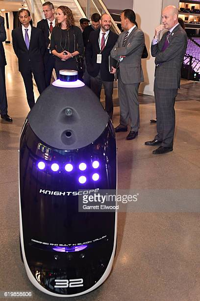A shot of the Knightscope K5 Knightman Robot before the San Antonio Spurs game against the Sacramento Kings on October 27 2016 at the Golden 1 Center...
