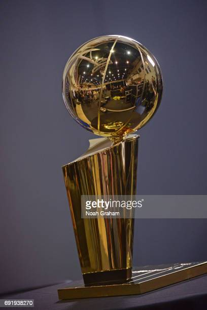 A shot of the Larry O'Brien Trophy during practice and media availability as part of the 2017 NBA Finals on June 3 2017 at the Warriors Practice...