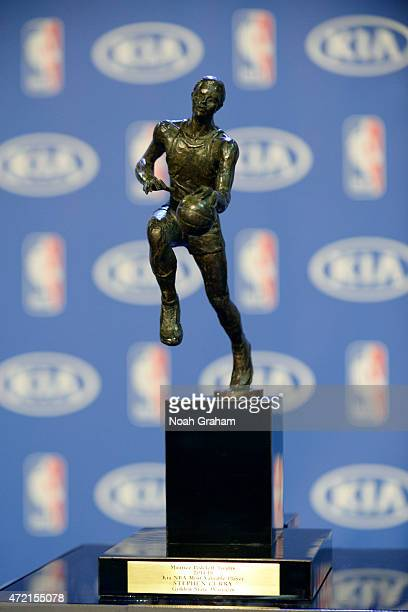 Shot of the Maurice Podoloff Trophy before the KIA 2014-15 Most Valuable Player Award Press Conference with Stephen Curry of the Golden State...