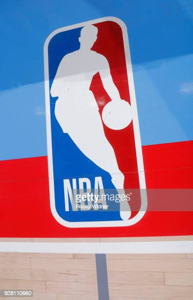 A shot of the NBA logo on the home court belonging to the Sacramento Kings prior to the game against the Minnesota Timberwolves on February 26 2018...