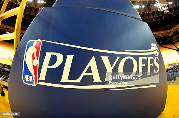 A shot of the NBA Playoffs trademark during the game between the Los Angeles Clippers and Golden State Warriors in Game Six of the Western Conference...