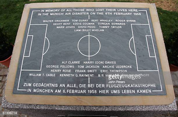 Shot of the new memorial to those killed in the Munich Air Disaster on February 6 in the small village of Kirchtrudering - the site of the crash -...