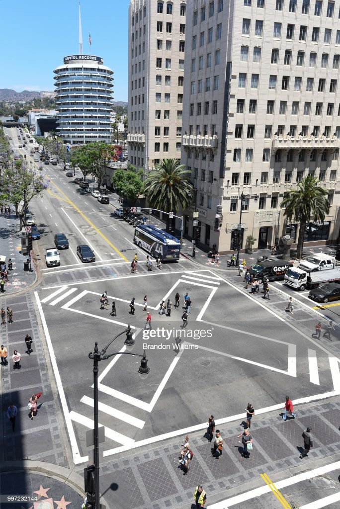 A shot of the new scramble sidewalk on Hollywood and Vine during it's dedication ceremony on July 12, 2018 in Hollywood, California.