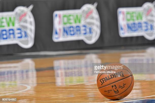 A shot of the Official @NBA Spalding Basketball during the Mountain Dew Orlando Pro Summer League game betweent he Charlotte Hornets and the Orlando...