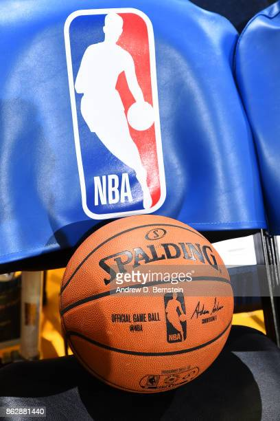 A shot of the Official NBA Spalding Basketball sitting on a chair before the Houston Rockets game against the Golden State Warriors on October 17...