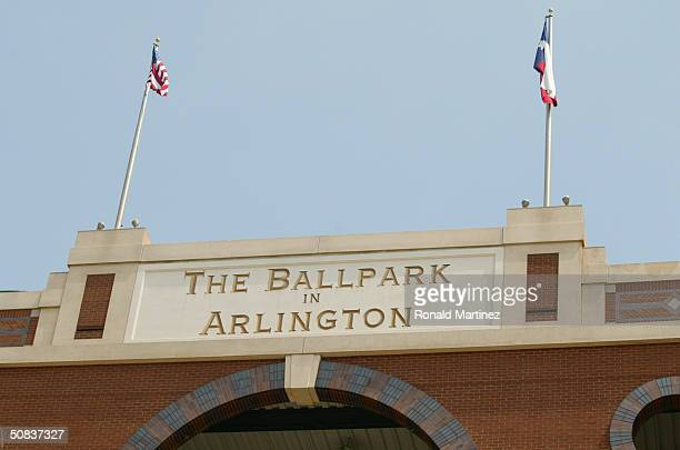 A shot of the old name of The Ballpark in Arlington now Ameriquest Field in Arlington on May 9 2004 in Arlington Texas On May 7 the Rangers and...