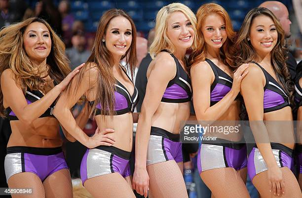 A shot of the Sacramento Kings dance team during the game between the Denver Nuggets and Sacramento Kings on November 5 2014 at Sleep Train Arena in...