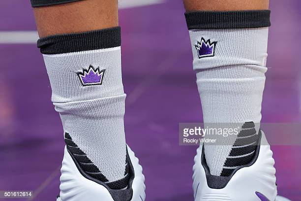 A shot of the Sacramento Kings logo on the socks of a player during the game against the New York Knicks on December 10 2015 at Sleep Train Arena in...