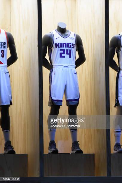 A shot of the Sacramento Kings new uniforms during the Nike Innovation Summit in Los Angeles California on September 15 2017 NOTE TO USER User...