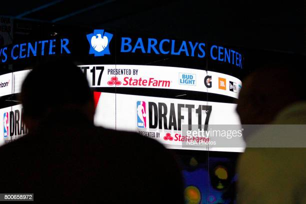 A shot of the scoreboard during the 2017 NBA Draft on June 22 2017 at Barclays Center in Brooklyn New York NOTE TO USER User expressly acknowledges...
