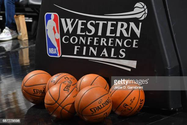 A shot of the signage and the Official @NBA Spalding Basketball before Game Three of the Western Conference Finals between the Golden State Warriors...