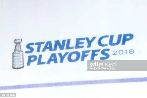 A shot of the Stanley Cup Playoffs logo on the ice prior to the game between the Anaheim Ducks and San Jose Sharks in Game Four of the Western...