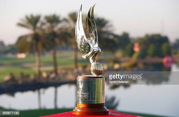 A shot of the winner's trophy during the proam as a preview for the 2016 Abu Dhabi HSBC Golf Championship at the Abu Dhabi Golf Club on January 20...