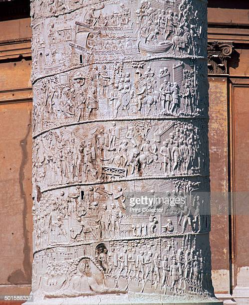 Shot of Trajan's column showing the Dacian wars 2nd century