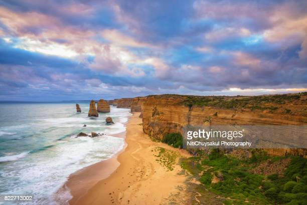 Shot of Twelve Apostles Sea Rocks at Port Campbell National Park
