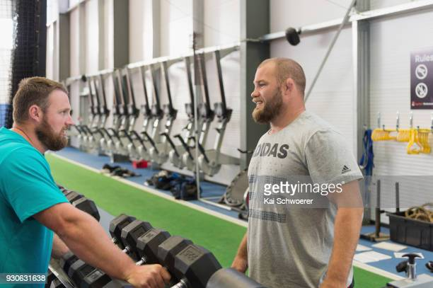 Shot put World Cup winner Tom Walsh and Owen Franks look on during a New Zealand All Blacks gym session at the Apollo Projects Centre high...