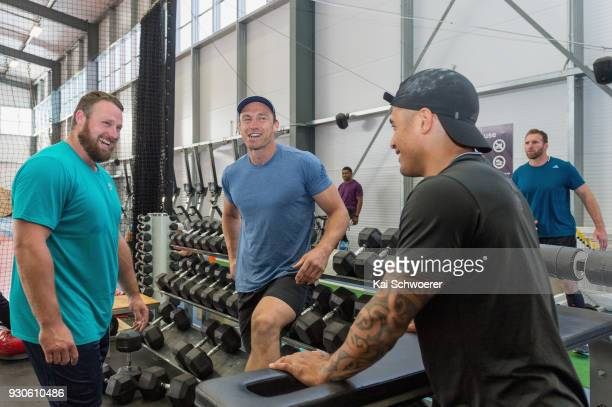 Shot put World Cup winner Tom Walsh Ben Smith and Aaron Smith share a laugh during a New Zealand All Blacks gym session at the Apollo Projects Centre...