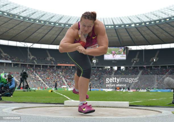 Shot putter Christina Schwanitz in action during the Internationales Stadionfest annual track and field athletics meet at the Olympiastadion in...