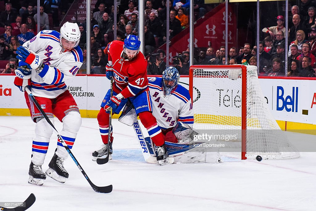 Shot stopped by New York Rangers Goalie Henrik Lundqvist (30) during the New York Rangers versus the Montreal Canadiens game on January 14, 2017, at Bell Centre in Montreal, QC