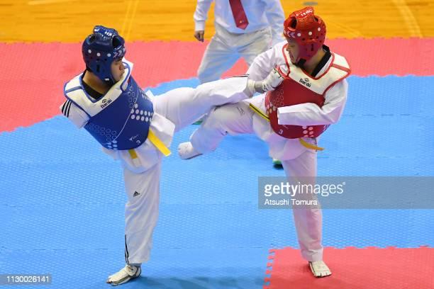 Shota Abe and Kazuki Ishihara compete during the Para Kyorugi during day one of the Japan Taekwondo Championships at Chiba Port Arena on February 16...