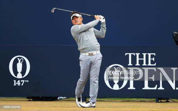 Shota Akiyoshi of Japan hits a tee shot on the first hole during previews to the 147th Open Championship at Carnoustie Golf Club on July 17 2018 in...