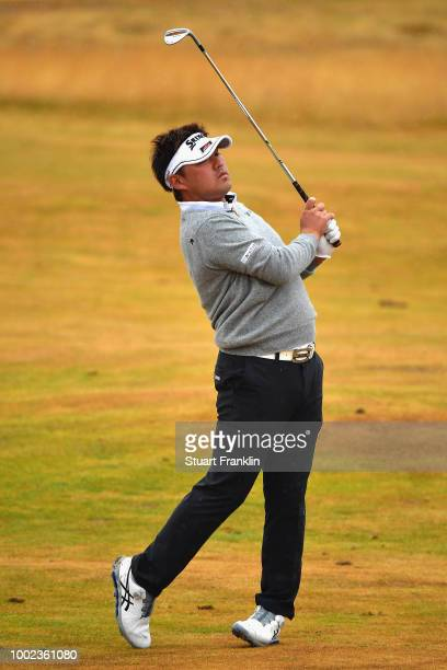 Shota Akiyoshi of Japan plays a shot on the third hole during the second round of the 147th Open Championship at Carnoustie Golf Club on July 20 2018...