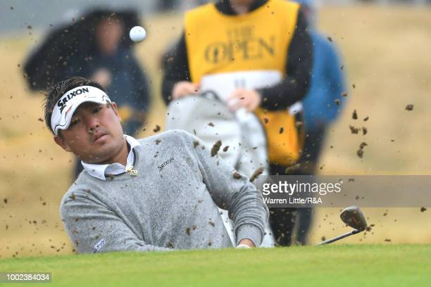 Shota Akiyoshi of Japan plays from a bunker during round two of the Open Championship at Carnoustie Golf Club on July 20 2018 in Carnoustie Scotland