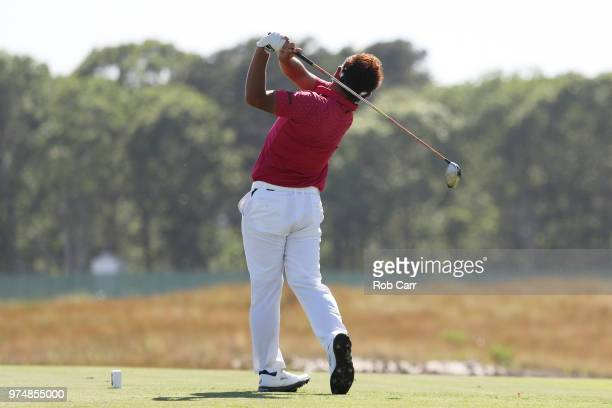 Shota Akiyoshi of Japan plays his shot from the sixth tee during the first round of the 2018 US Open at Shinnecock Hills Golf Club on June 14 2018 in...