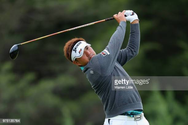 Shota Akiyoshi of Japan plays his shot from the sixth tee during the second round of the 2018 US Open at Shinnecock Hills Golf Club on June 15 2018...
