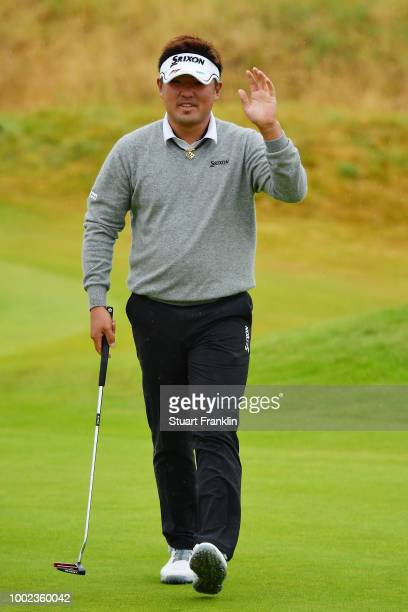 Shota Akiyoshi of Japan reacts to a putt on the second green during the second round of the 147th Open Championship at Carnoustie Golf Club on July...
