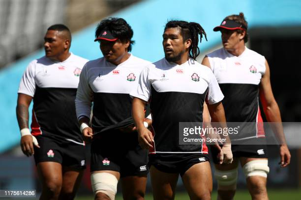 Shota Horie of Japan and team mates prepare for a drill during the Japan Captain's Run at the Tokyo Stadium on September 19, 2019 in Chofu, Tokyo,...