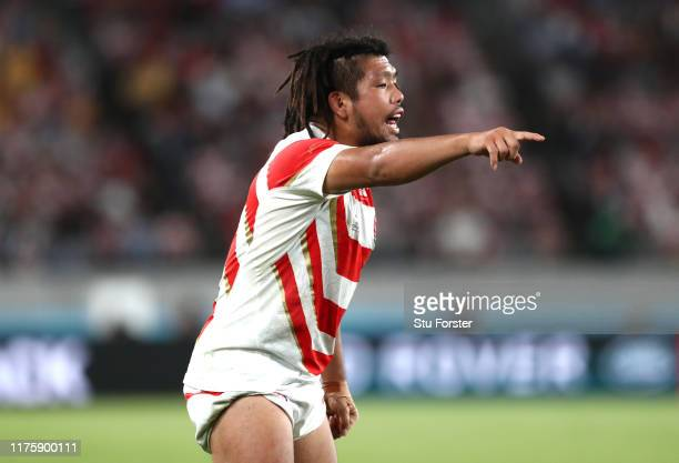 Shota Horie of Japan gives his team instructions during the Rugby World Cup 2019 Group A game between Japan and Russia at the Tokyo Stadium on...