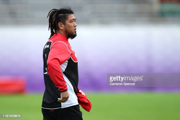 Shota Horie of Japan looks on during a 2019 Rugby World Cup Japan team training session at Chichibunomiya Rugby Stadium on October 17, 2019 in Tokyo,...
